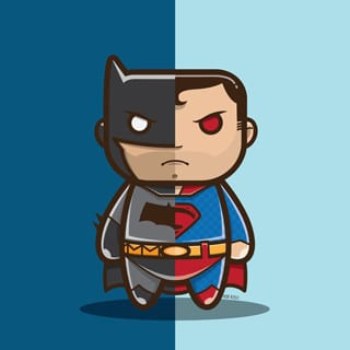 caricaturas batman vs superman dark