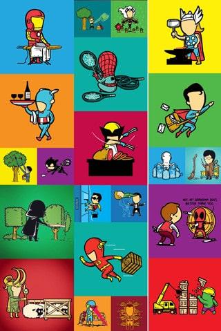 caricaturas de super heroes divertidos