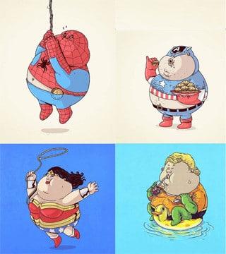 caricaturas de super heroes gordos