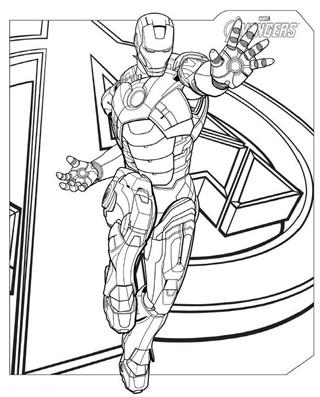 dibujos de ironman para colorear en avengers