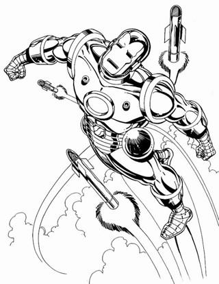 dibujos de ironman para colorear en pelea