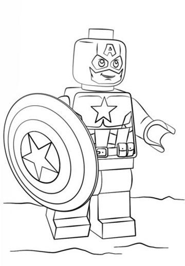 dibujos para colorear capitan america en lego