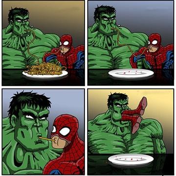 caricaturas de hulk y spiderman