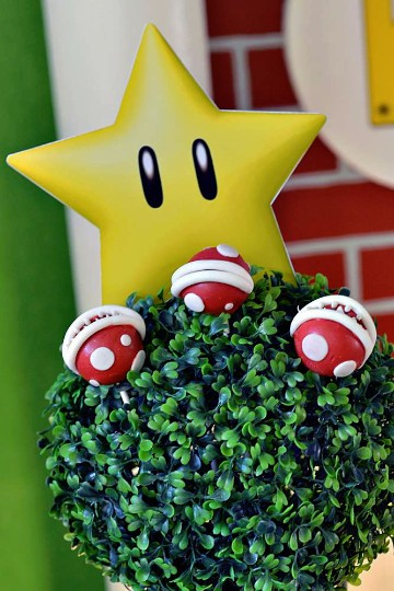 centros de mesa de mario bros con globos