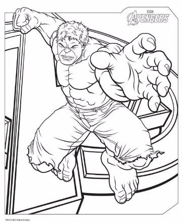imagenes de hulk para colorear faciles