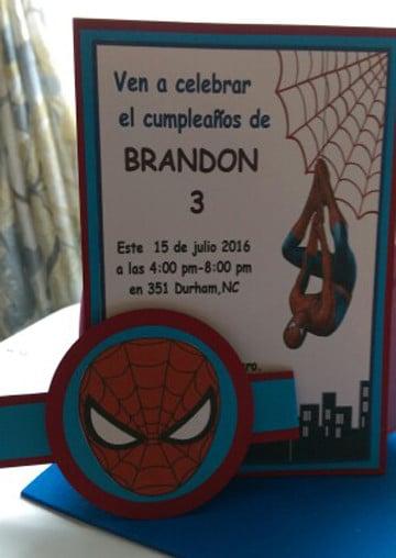 invitaciones del hombre araña hechas a mano