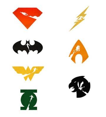 logos de los superheroes vectorizados