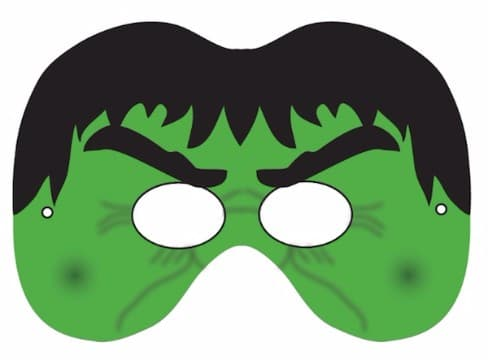 mascaras de superheroes para imprimir de hulk